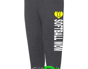 Softball Sweatpants, Custom Sweatpants Jogger Sweats Womens Sweatpants Mom Softball Pants Softball Mom Gear Spirit Wear Softball Spiritwear