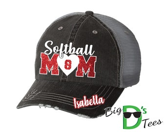 Custom Personalized Softball Mom Glitter Distressed Trucker Baseball Hat Cap Great Quality