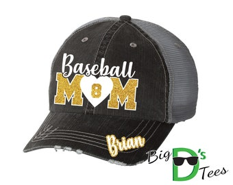 Custom Personalized Baseball Mom Glitter Distressed Trucker Baseball Hat Cap Great Quality