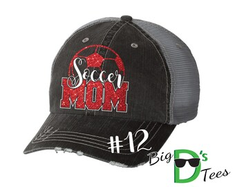 Custom Personalized Soccer Mom Glitter Distressed Trucker Baseball Hat Cap Great Quality