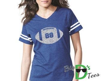Custom Glitter Football Women's V-Neck Football Style Shirt Amazing Spirit Wear Football Mom