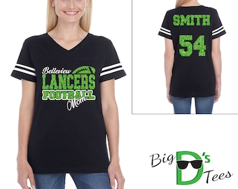 Custom Personalized Glitter Football Mom Women's V-Neck Football Style Shirt Amazing Spirit Wear Football Mother