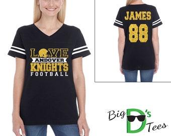 Custom Personalized Glitter Love Football Women's V-Neck Football Style Shirt Amazing Spirit Wear Football Mother