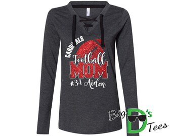 Custom Personalized Glitter Football Mom Women's Fine Jersey Lace-Up Long Sleeve T-Shirt Amazing Spirit Wear Football Mother