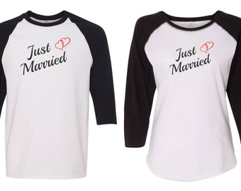 Just Married Raglan Tees Newly Wed Shirts His and Hers Tees Anniversary Tees Wedding Party Baseball Tees Couple Shirts Gift for Wedding