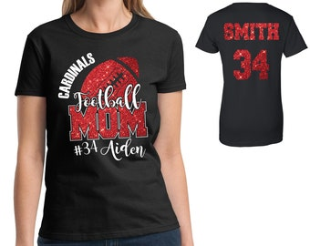 Custom Personalized Glitter Football Mom Women's Cotton Shirt Amazing Spirit Wear Grid Iron Gear