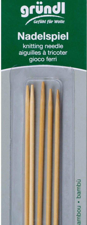 Strumpfstricknadeln de bambú 20cm largo aguja del juego gründl