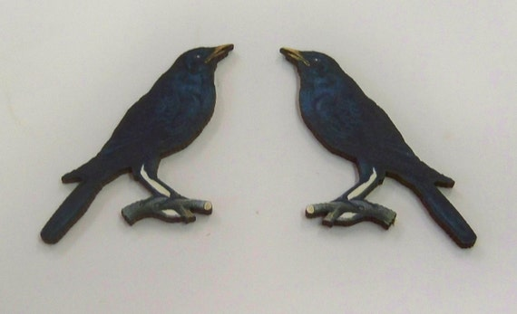 A packet of 12 x woodcuts Black Bird Black Crows and Ravens