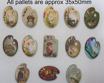 Painters Palett Set of 13 X wooden cutouts