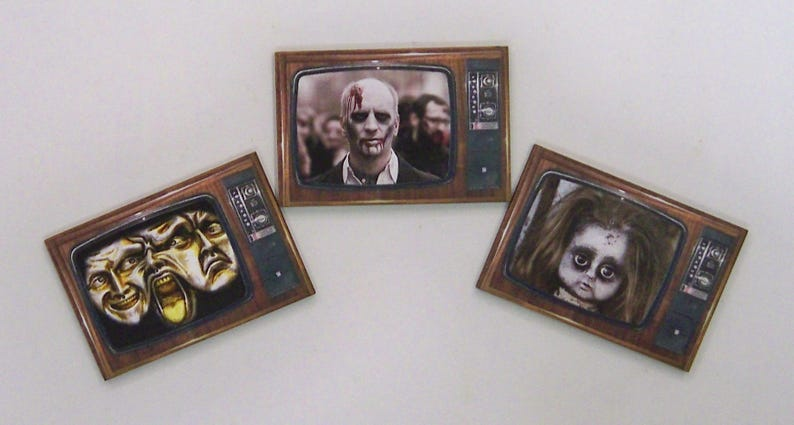 Horror Show on TV 9 X Woodcuts with Horror Channel Programs