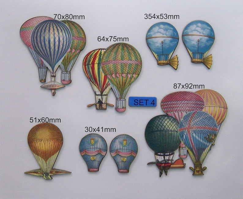Vintage 8 x Woodcuts in packet SET 4 Hot Air Balloons