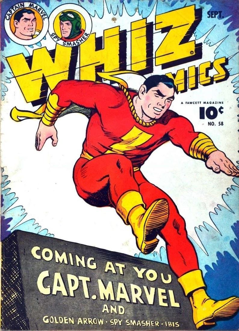 whiz comics featuring captain marvel comic book cover art | etsy
