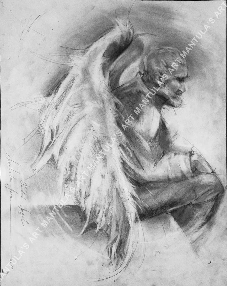 Original pencil drawing faded angel unique