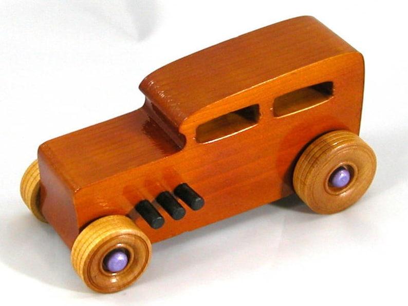 Handmade Wooden Toy Car Hot Rod 1932 Sedan Amber Shellac image 0