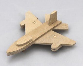 Handmade Wood Airplane - Jet Fighter - Free Shipping