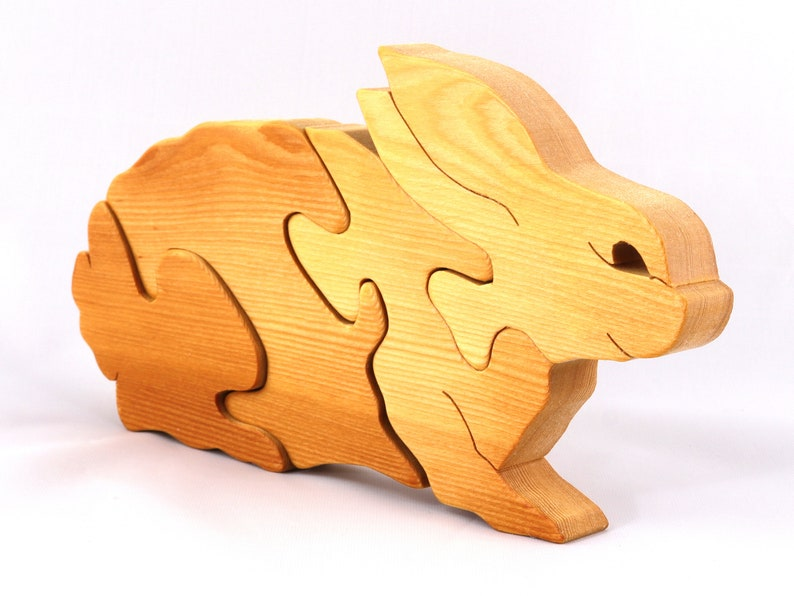 Handmade Wooden Bunny Rabbit Puzzle Toy A Cute Simple Four image 0