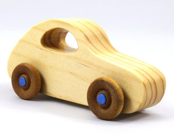 Handmade Wood Toy Car Classic 1957 Bug From The Play Pal Series Clear Shellac and Metallic Blue Hubs