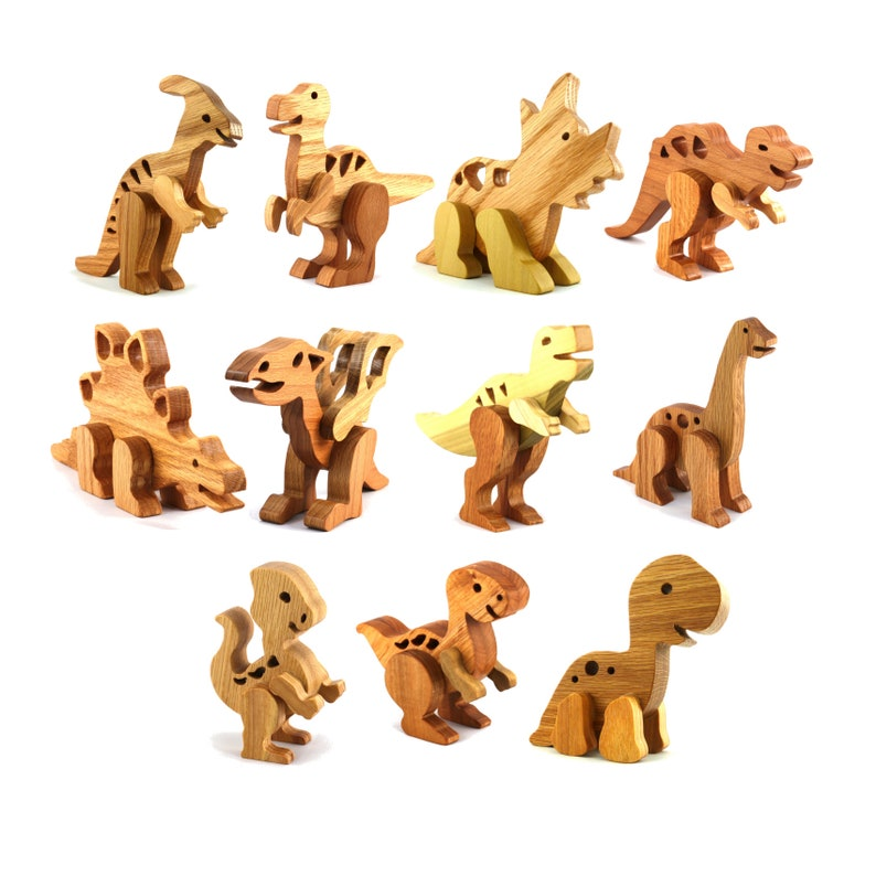 Handmade Wooden Toy 11 Dinosaur Play Set  Made to Order image 0