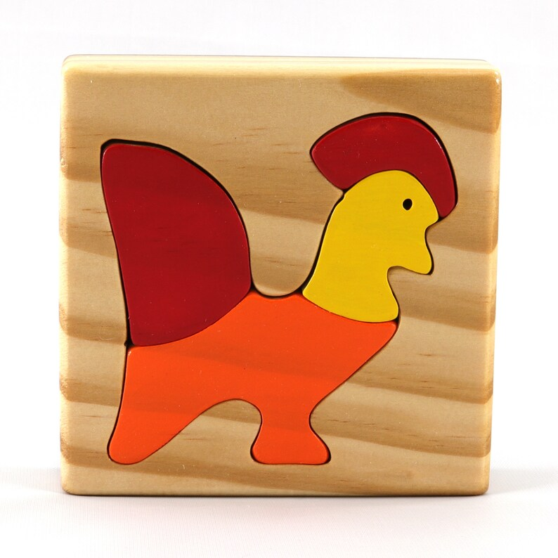 Handmade Wooden Toy Tray Puzzle Colorful  Red Orange & image 0