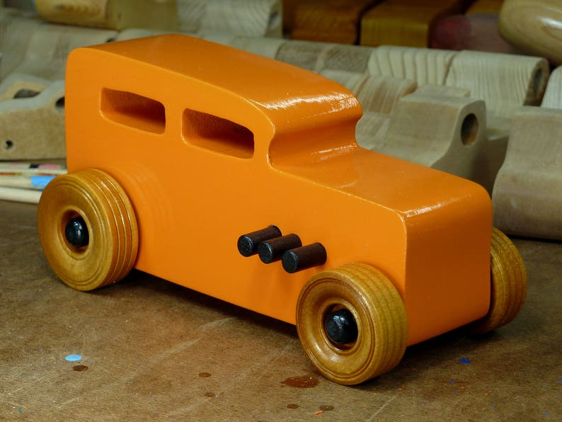 Handmade Wooden Toy Car Hot Rod 1932 Sedan Orange with image 0