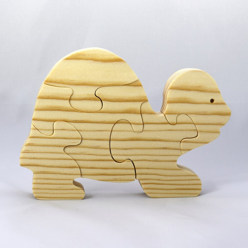 Handmade Wooden Puzzle Turtle Five Pieces image 0
