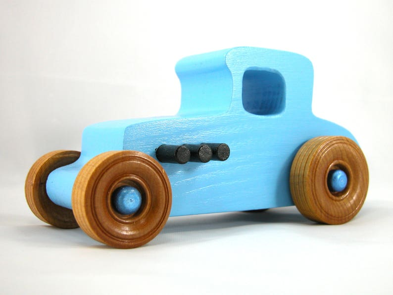 Wooden Toy Car Hot Rod 1927 T-Coupe Finished Baby Blue and image 0