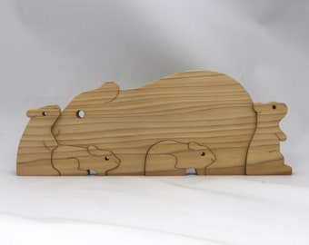 Guinea Pig Family Puzzle, Handmade, Wood Toy Animal, Stacker