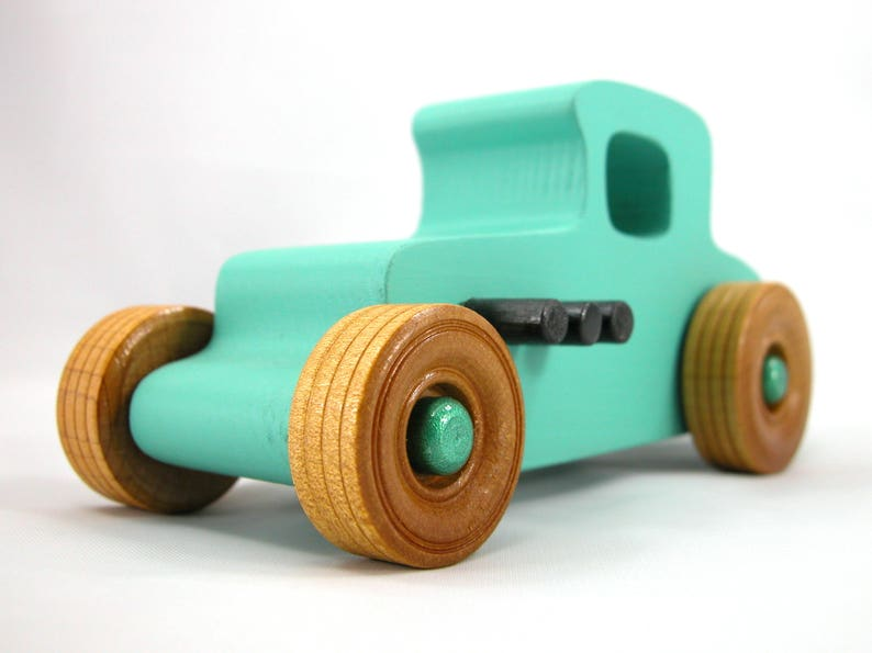Wooden Toy Car Hot Rod 1927 T-Coupe Finished With Nontoxic image 0