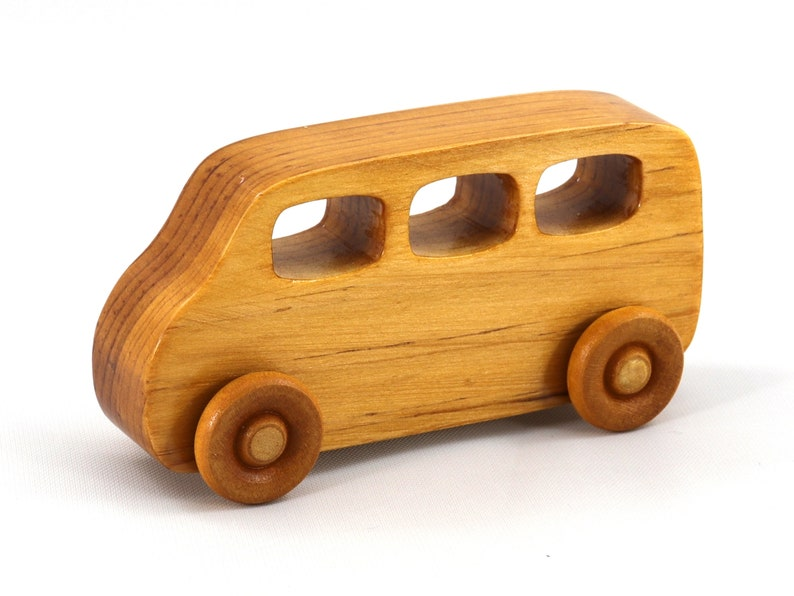 Handmade Wooden Toy Car Mini Van Bus Finished With Nontoxic image 0
