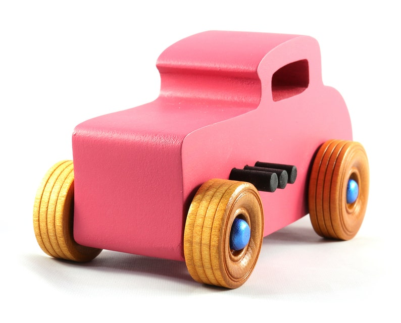 Handmade Wooden Toy Car Hot Rod Deuce Coupe Nontoxic Pink image 0