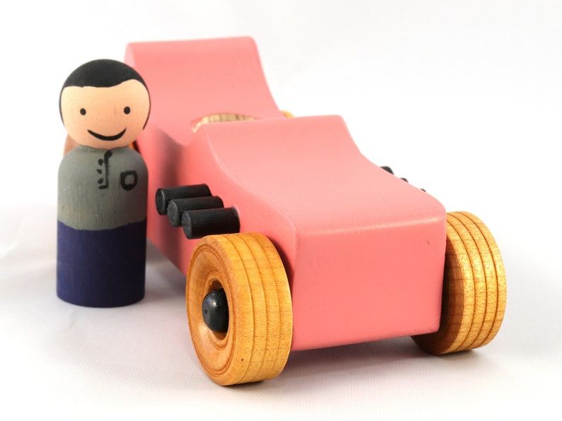 Handmade Wooden Toy Car Hot Rod 1927 T-Bucket Finished With image 0