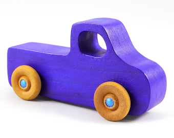 Wood Toy Pickup Truck from the Play Pal Series Bright Transparent Blue With Metallic Blue Hubs - Handmade