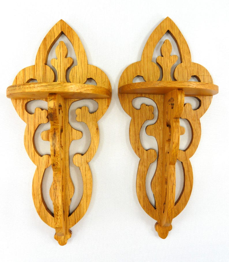 A Pair of Victorian Style Fretwork Wall Shelves for Home or image 0