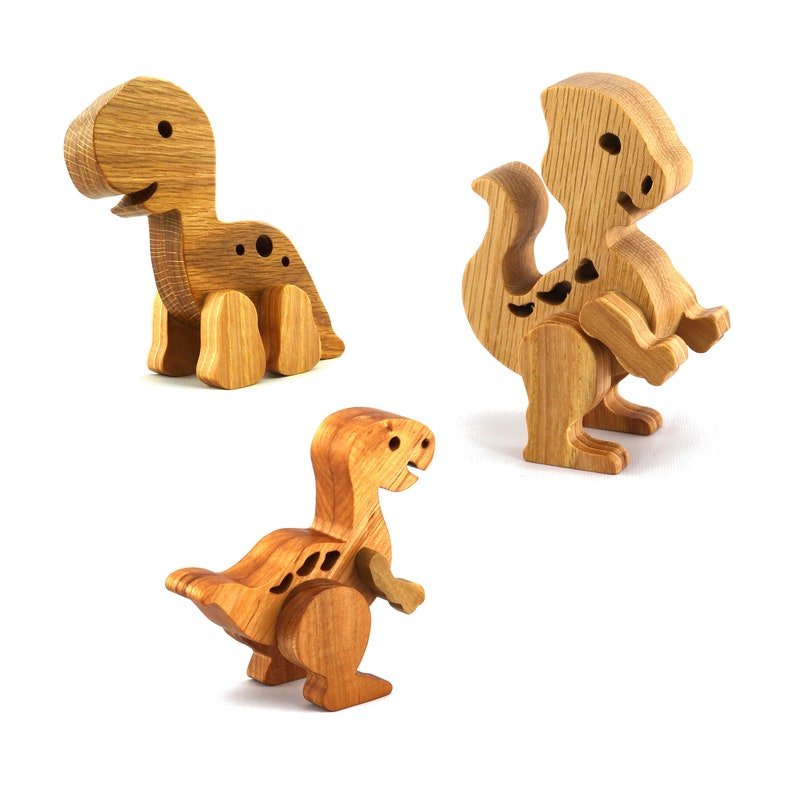 Wooden Toy 3 Dinosaur Play Set  Made to Order image 0