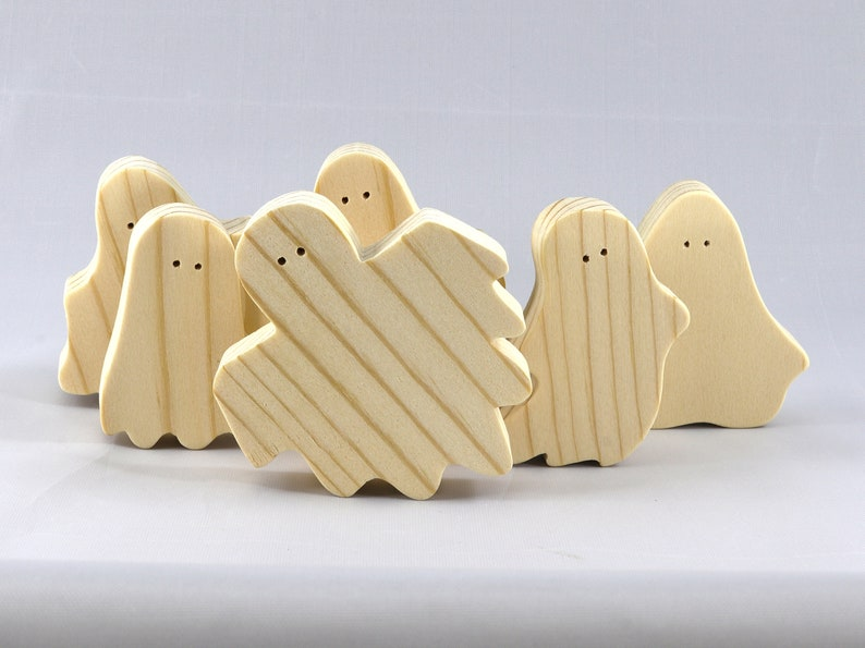 Handmade Wooden Halloween Ghost Cutouts Set of 6 Silly image 0