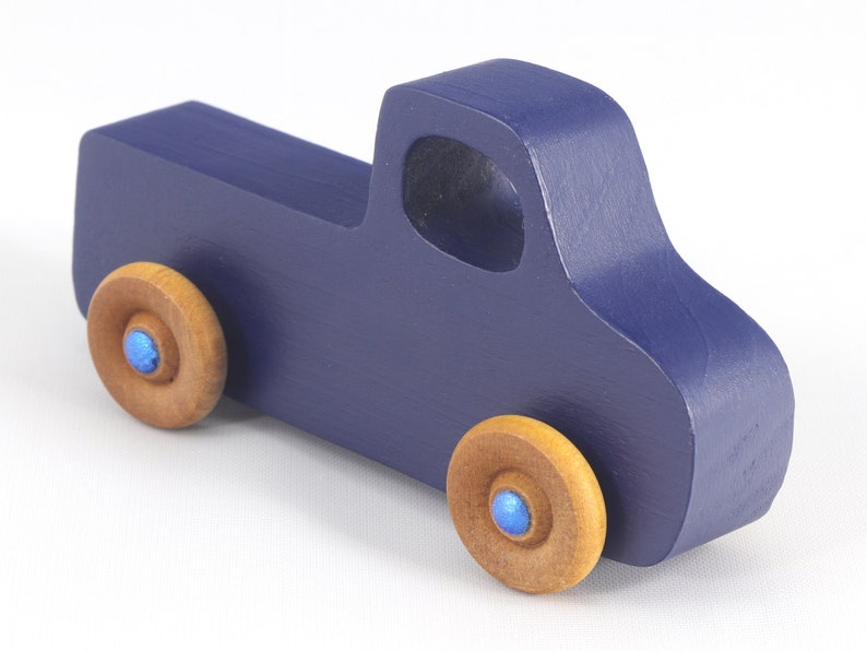 Small Wood Toy Pickup Truck Navy Blue With Metallic Blue Hubs image 0