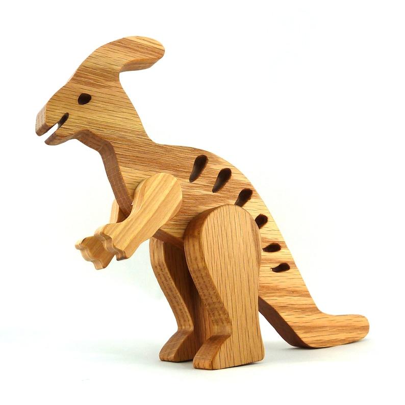 Handmade Wooden Toy Dinosaur Parasaurolophus image 0