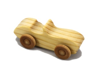 Handmade Wooden Toy Car Convertible Sports Coupe Snazzy Ripsnorter Mini Play Pal Size