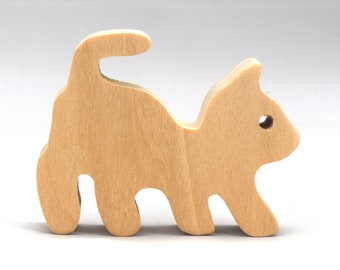 Small Wood Toy Kitten Unfinished - Itty Bitty Kitten - Wooden Animal Toy - Handmade