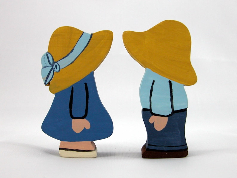 Handmade Wooden Blue Dutch Farm Boy and Girl Hand Painted image 0