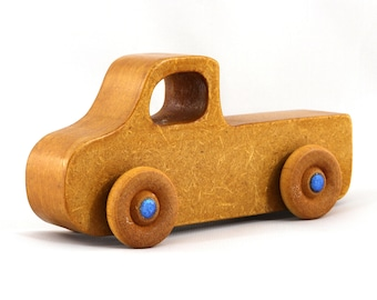 Wood Toy Pickup Truck from the Play Pal Series Amber Shellac With Metallic Blue Hubs