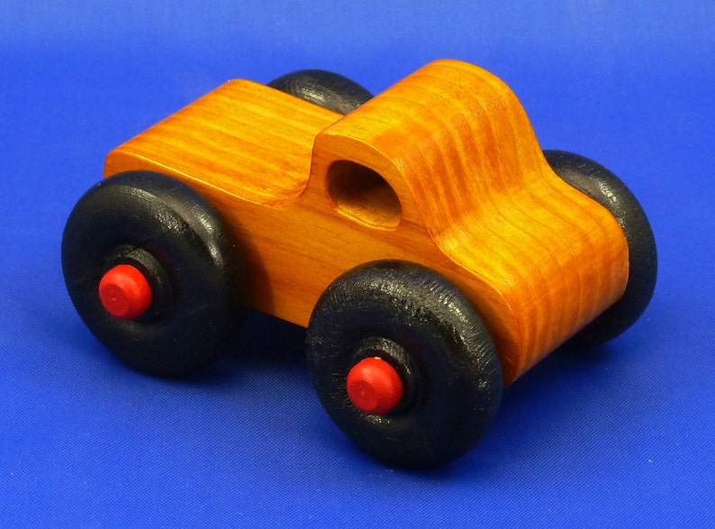 Handmade Wooden Toy Truck Monster Truck Amber Shellac with image 0