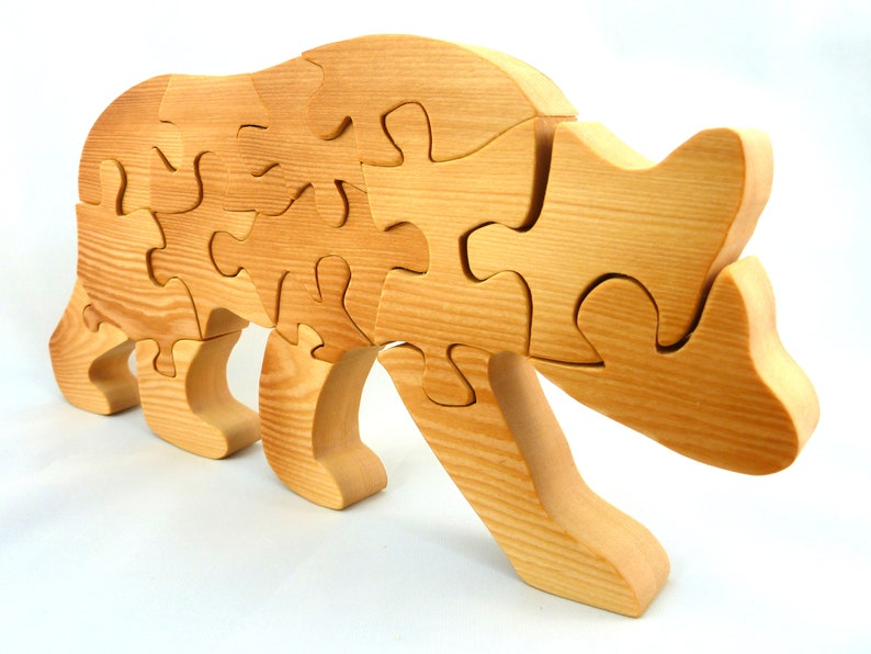Handmade Wooden Puzzle Bear Freestanding with 15 Interlocking image 0