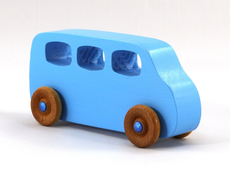 Handmade Wooden Toy Car Baby Blue Minivan from the Play Pal image 0