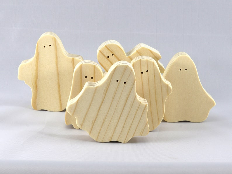 Set of 6 Silly Spooks Custom Sizes /& Quantities are Available Handmade Wooden Halloween Ghost Cutouts