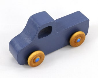 Wooden Toy Pickup Truck from the Play Pal Series Military Blue With Metallic Blue Hubs