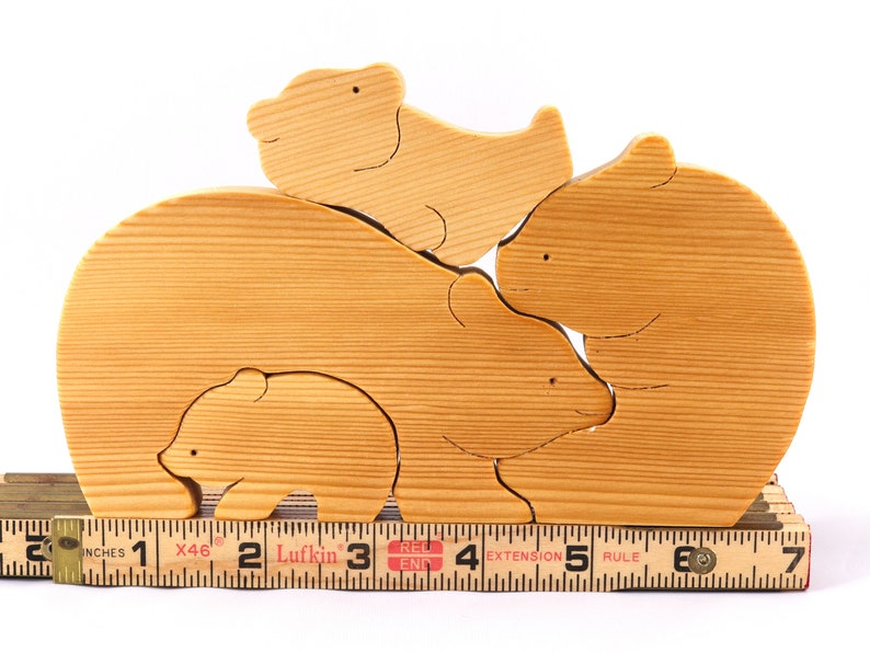 Handmade Wooden Bear Family Puzzle Stacker Toy A Cute Simple image 0