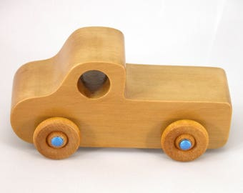 Toddler Toy, Wooden Toy Truck, Gift, Girls, Boys, Kids, Pickup Truck, Toy Truck, Truck, Blue, Reclaimed Wood, Recycled, Made In USA, Decor