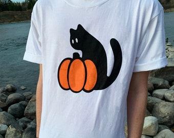 Halloween Black Cat Pumpkin unisex Tshirt