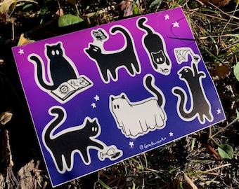 Halloween Black Cat Sticker Sheet Set